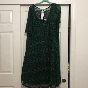 Dress Barn green lace dress, size 24